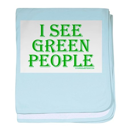 I see green people baby blanket