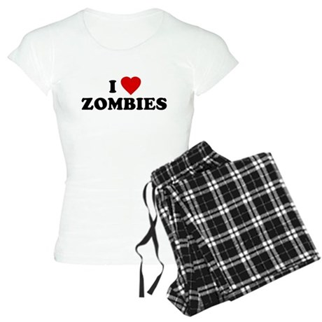 I Love [Heart] Zombies Womens Light Pajamas