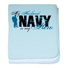 Husband Hero3 - Navy baby blanket