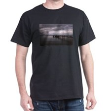 Cloudy seascape with pier Black T-Shirt