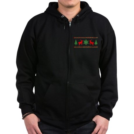 Ugly Christmas Sweater Zip Dark Hoodie