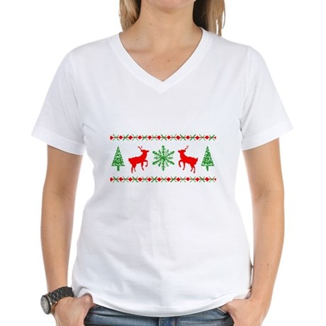 Ugly Christmas Sweater Womens V-Neck T-Shirt