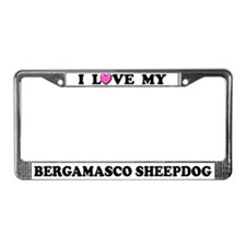 I Love My Bergamasco Sheepdog License Plate Frame