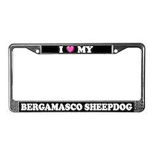 I Heart My Bergamasco Sheepdog License Plate Frame