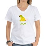 Susan Loves Puppies Women's V-Neck T-Shirt