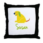 Susan Loves Puppies Throw Pillow