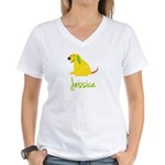 Jessica Loves Puppies Women's V-Neck T-Shirt