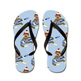 Sock Monkey Blue Guitar Flip Flops
