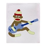 Sock Monkey Blue Guitar Throw Blanket