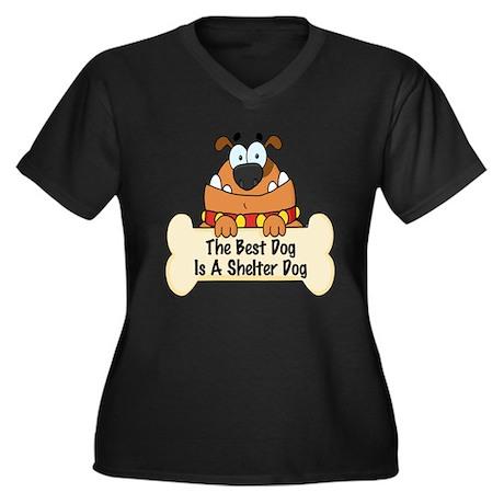 Best Shelter Dogs Women's Plus Size V-Neck Dark T-