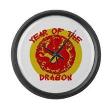 Red & Gold Yr of the Dragon Large Wall Clock