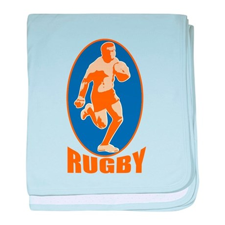 rugby player retro baby blanket