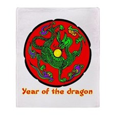 Multicolor Year of the Dragon Throw Blanket