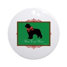 Holiday Newf - Your Text Ornament (Round)