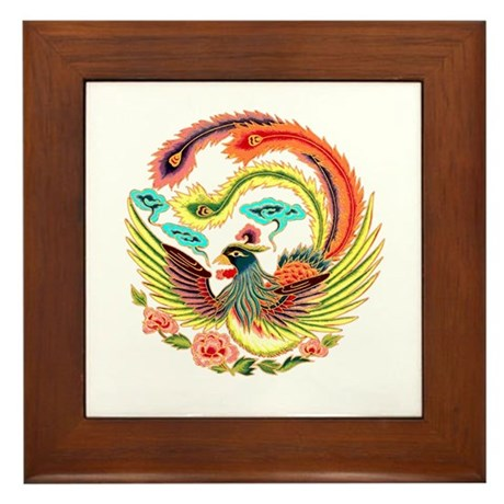 Asian Dragon or Phoenix Framed Tile