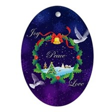 Joy Peace Love Ornament (Oval)