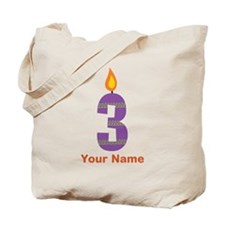 Custom 3rd Birthday Candle Tote Bag