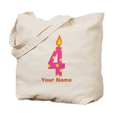 Custom 4th Birthday Candle Tote Bag