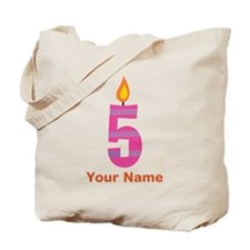 Custom 5th Birthday Candle Tote Bag