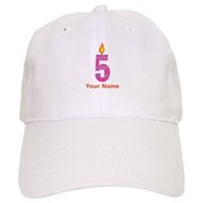 Custom 5th Birthday Candle Baseball Cap