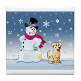 Yellow Lab and Snowman Tile Coaster
