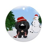 Newfie Winter Wonderland Ornament (Round)