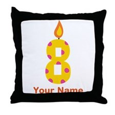 Custom 8th Birthday Candle Throw Pillow