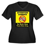 Attention Zombies Women's Plus Size V-Neck Dark T-