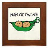 Mum of Twins Framed Tile