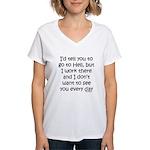 Work in hell funny Women's V-Neck T-Shirt