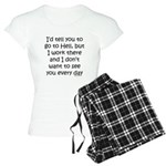 Work in hell funny Women's Light Pajamas