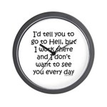 Work in hell funny Wall Clock