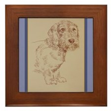Wirehaired Dachshund Dog Art Framed Tile
