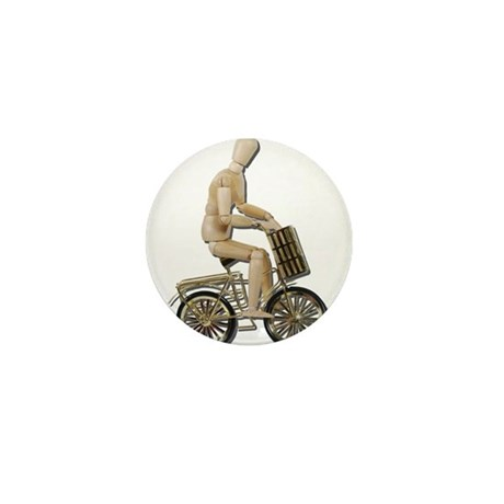 Riding Bicycle with Basket Mini Button (100 pack)