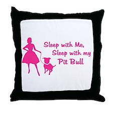 Sleep with My Pit Bull (retro Throw Pillow