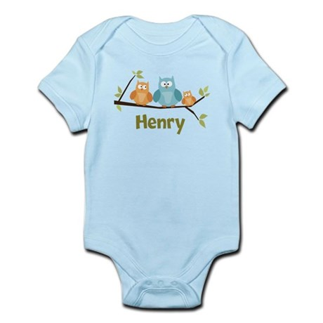 Custom Baby Name Owls Infant Bodysuit