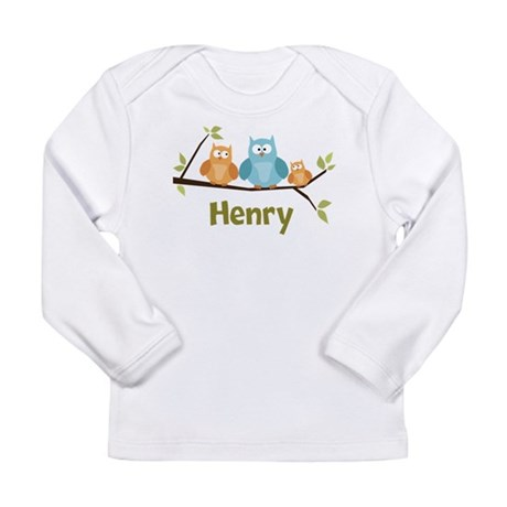 Custom Baby Name Owls Long Sleeve Infant T-Shirt