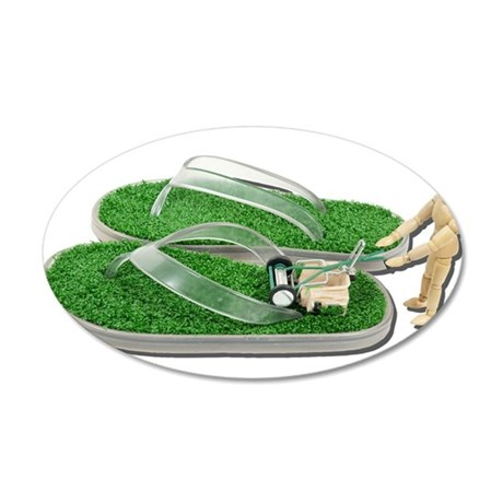 Mowing Grass Sandals 38.5 x 24.5 Oval Wall Peel