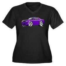 Challenger SRT8 Purple Car Women's Plus Size V-Nec
