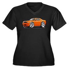 Challenger SRT8 Orange Car Women's Plus Size V-Nec