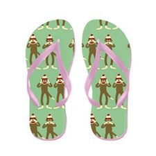 No Evil Sock Monkeys Flip Flops