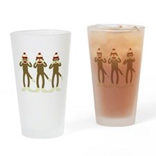 No Evil Sock Monkeys Drinking Glass
