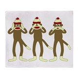 No Evil Sock Monkeys Throw Blanket