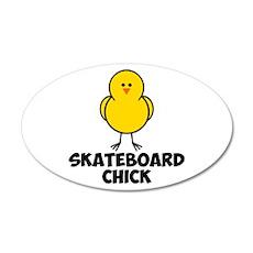 Skateboard Chick 22x14 Oval Wall Peel