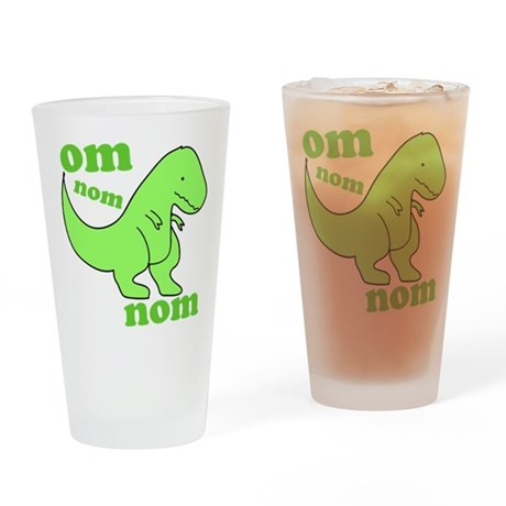 om NOM NOM dinosaur chomps Drinking Glass