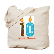 Custom 10th Birthday Candle Tote Bag