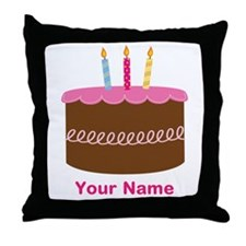 Custom 3rd Birthday Cake Throw Pillow