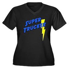 Super Trucker Women's Plus Size V-Neck Dark T-Shir