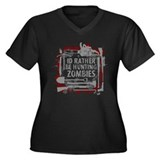 Hunting Zombies Women's Plus Size V-Neck Dark T-Sh