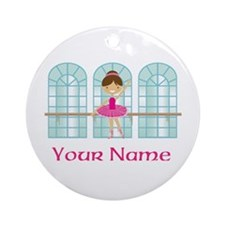 Customized Pink Ballerina Ornament (Round)